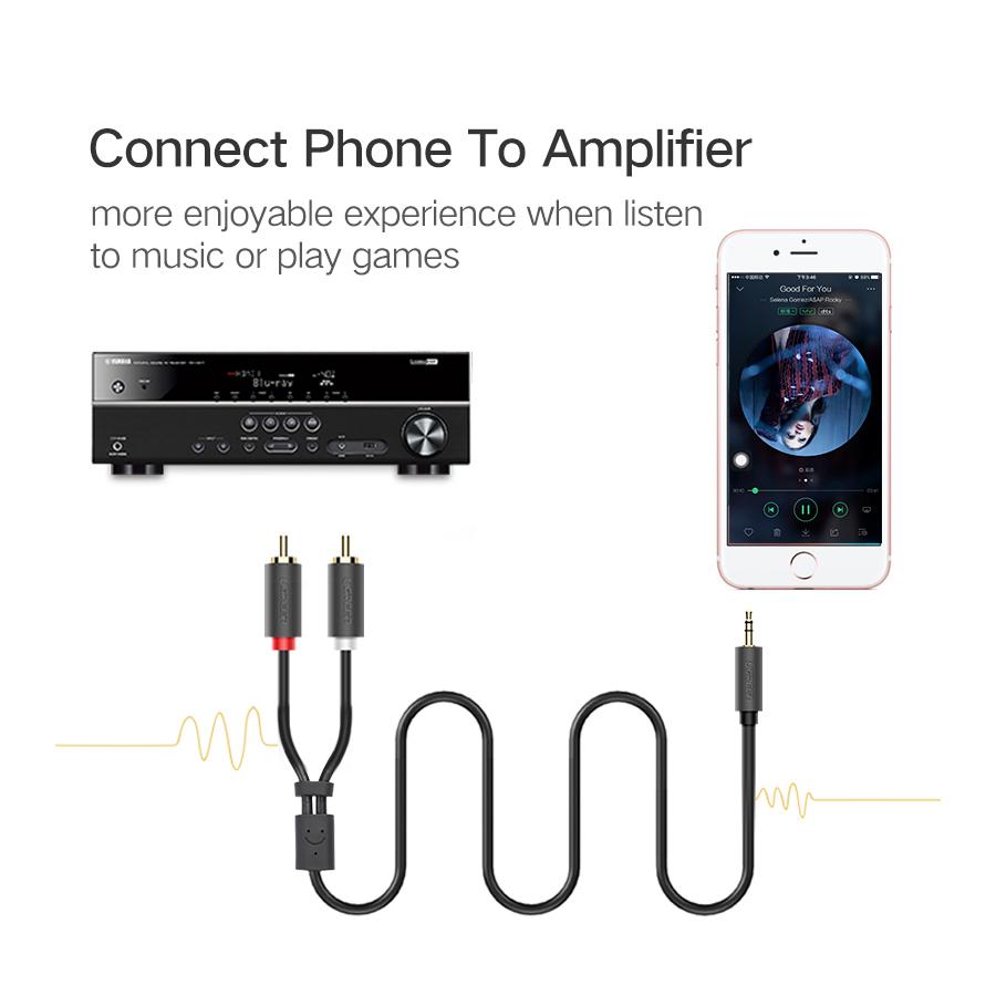 Cáp Audio 3.5mm to AV hoa sen (RCA) dài 5M Ugreen 10513 - Hàng Chính Hãng