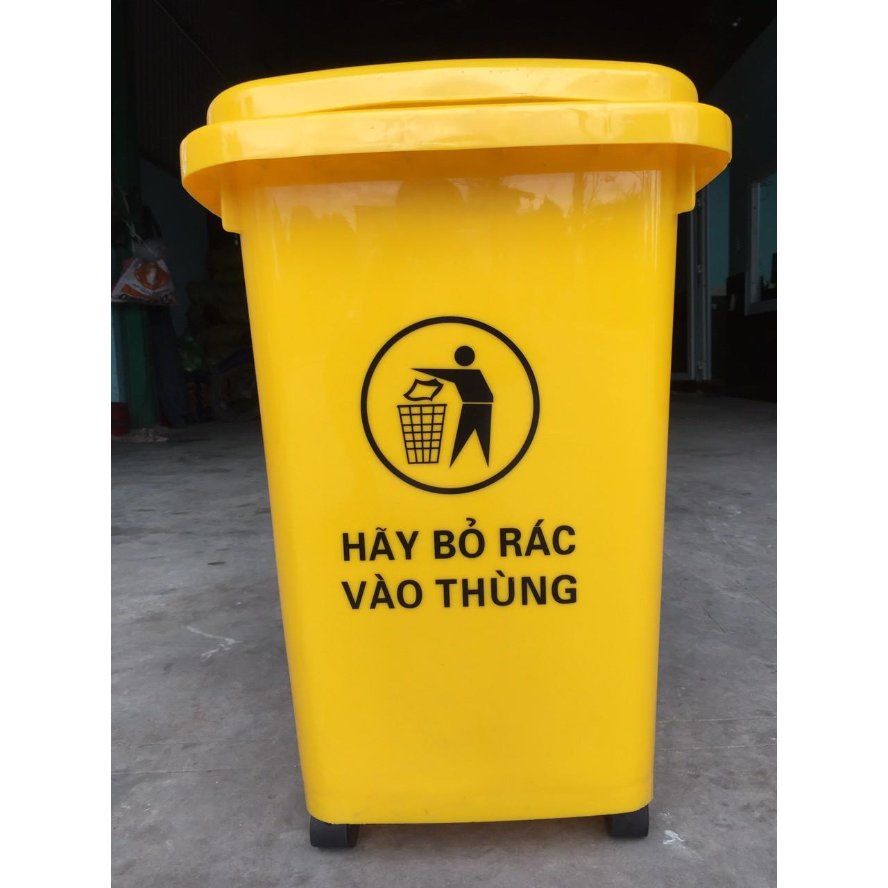 Thùng rác 60L màu vàng