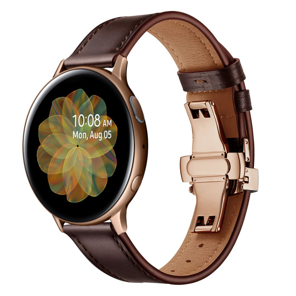 Dây Da Khóa Bướm Gold Chống Gãy Size 20mm Cho Galaxy Watch Active 1 / Galaxy Watch 42 / Galaxy Watch Active 2