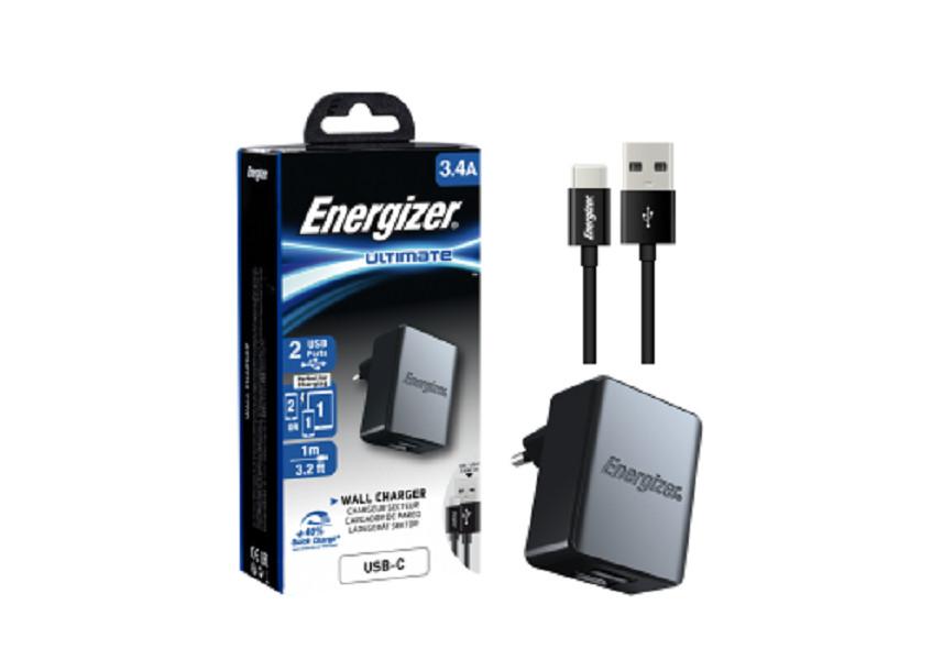 Sạc Energizer 3.4A 2USB kèm cáp USB-C2.0 màu đen - ACA2CEUUC23 - Hàng Chính Hãng