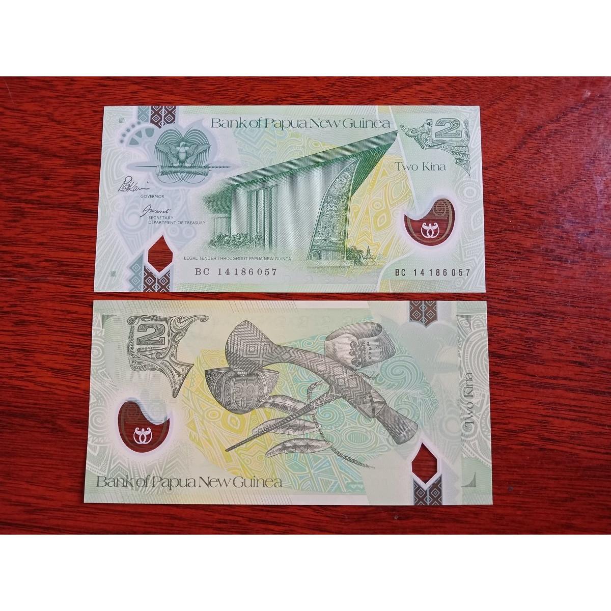Tờ tiền 2 Kina của Papua New Guinea bằng polyme sưu tầm