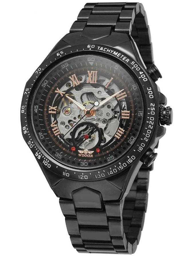 Đồng hồ nam Winner TM432 cơ lộ máy đính đá dây thép không gỉ - Fullbox chính hãng