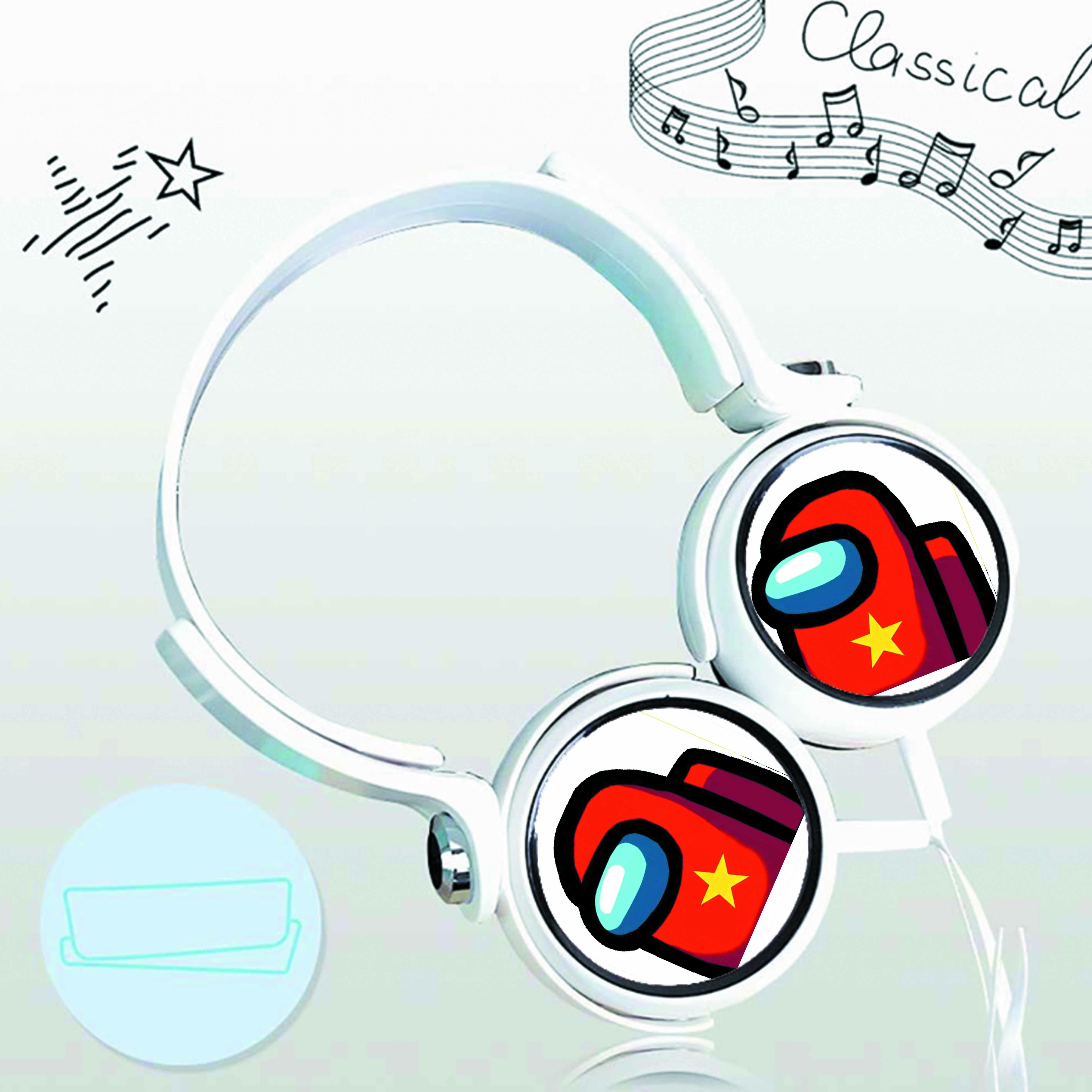 Tai nghe chụp IN HÌNH Among Us game cắm dây có mic