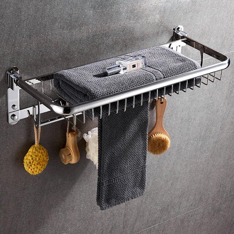 Kệ treo khăn nhà tắm inox 304 cao cấp B09 - Giá treo khăn nhà tắm đa năng gấp gọn - Kệ để xà bông phòng tắm