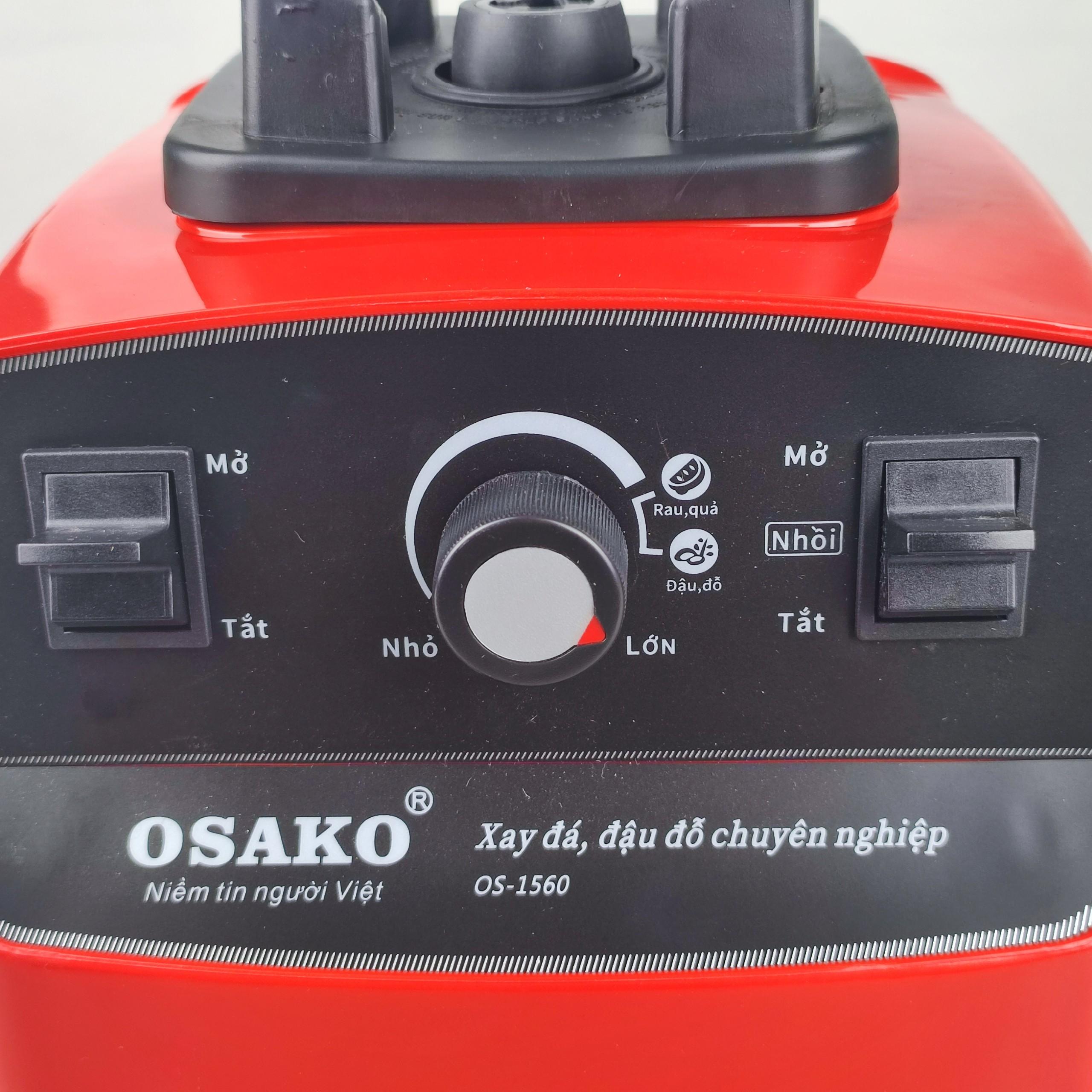 Máy xay sinh tố công nghiệp Osako Os.1560, cối 2lit, có chức năng rau quả và xay đậu đỗ hạt khô, màu đỏ-hàng chính hãng