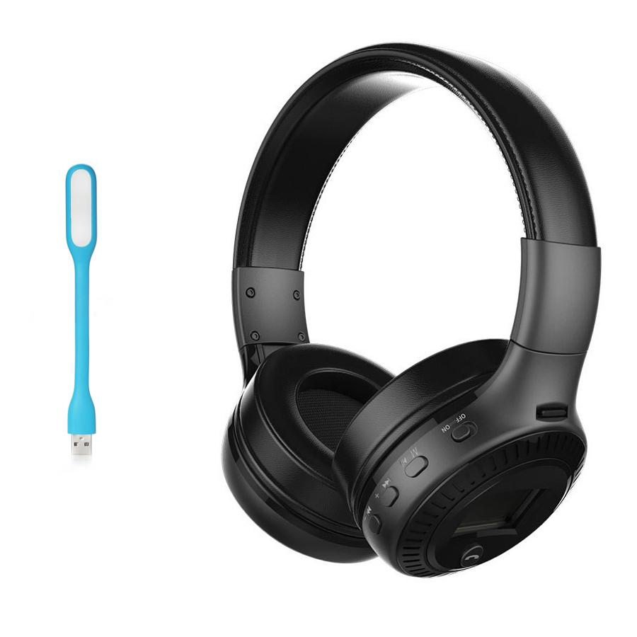 Tai nghe Bluetooth chụp tai không dây ZEALOT B19 có micrô, màn hình LCD + Tặng Led USB (Giao màu ngẫu nhiên) - Hàng nhập khẩu