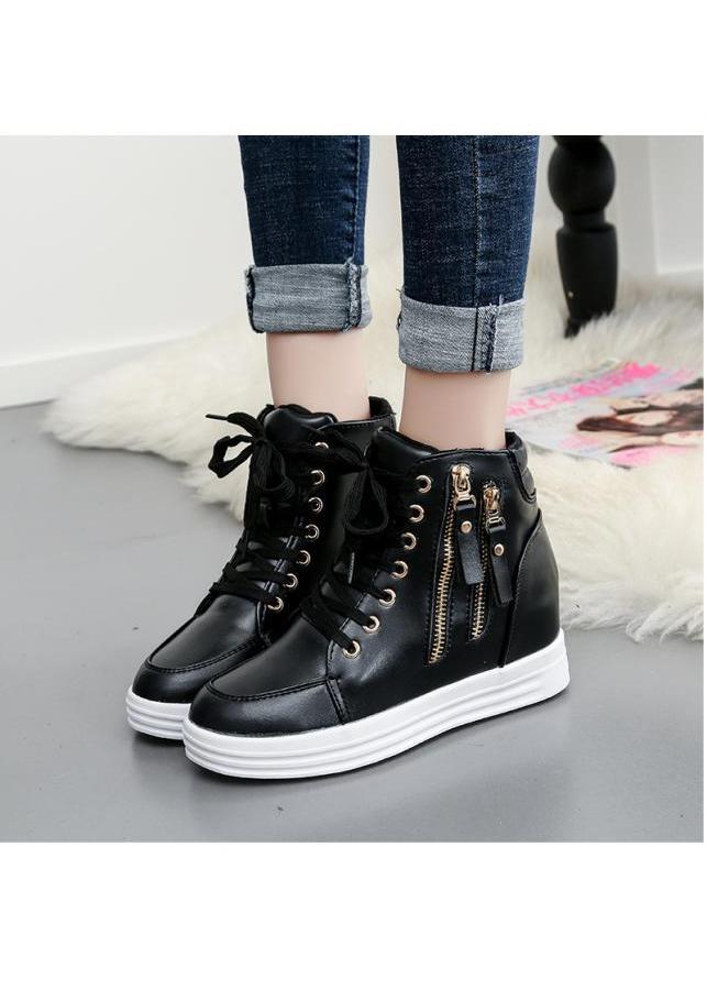 Giày nữ cổ cao phong cách Hàn Quốc BM065D (Đen)