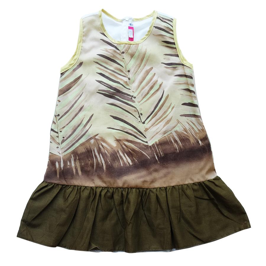Đầm Bé Gái Đuôi Cá In Lá Dừa CucKeo Kids T11936 - Rêu - Size 5