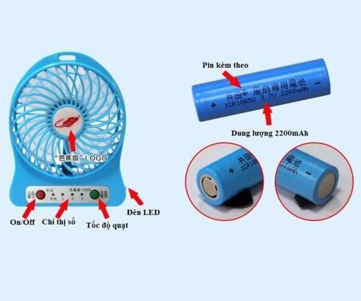 COMBO Quạt JL Mini 3 Tốc Độ Pin Sạc + Tặng Kèm Cáp Sạc Và PIN ( giao màu ngẫu nhiên)