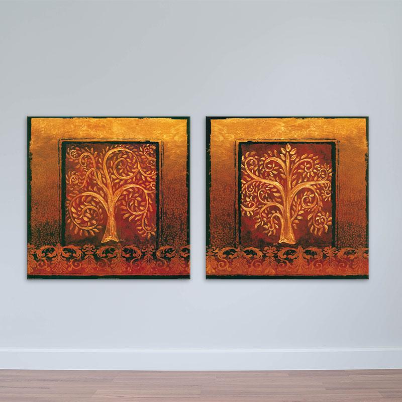 Bộ 2 tranh treo tường nghệ thuật   Tranh cây lá màu nâu đỏ – W1692
