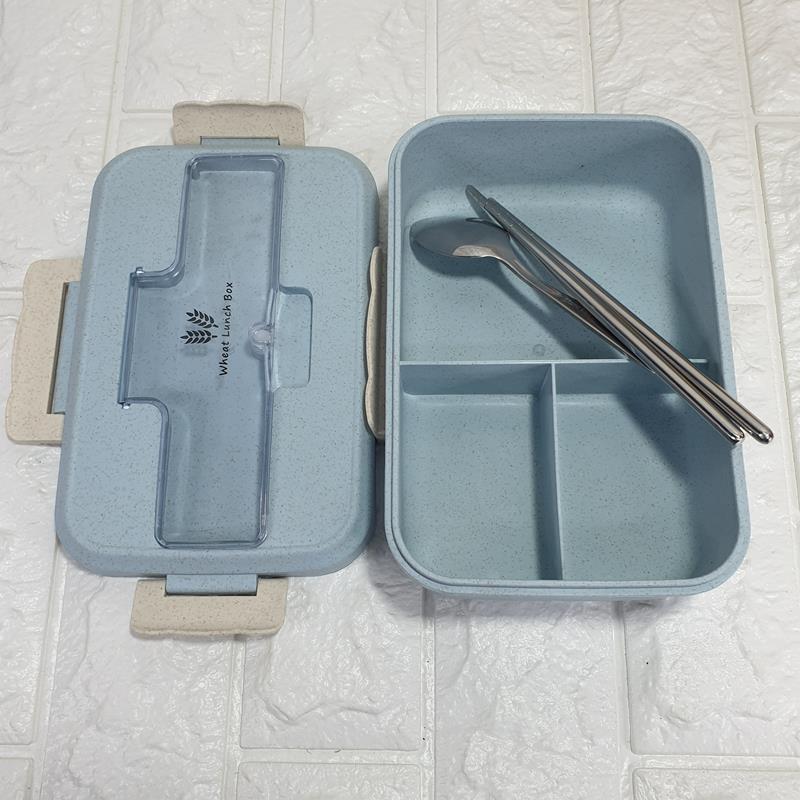 Hộp Cơm Văn Phòng Lúa Mì + Bộ Muỗng Nĩa Inox  ( hộp đựng cơm )
