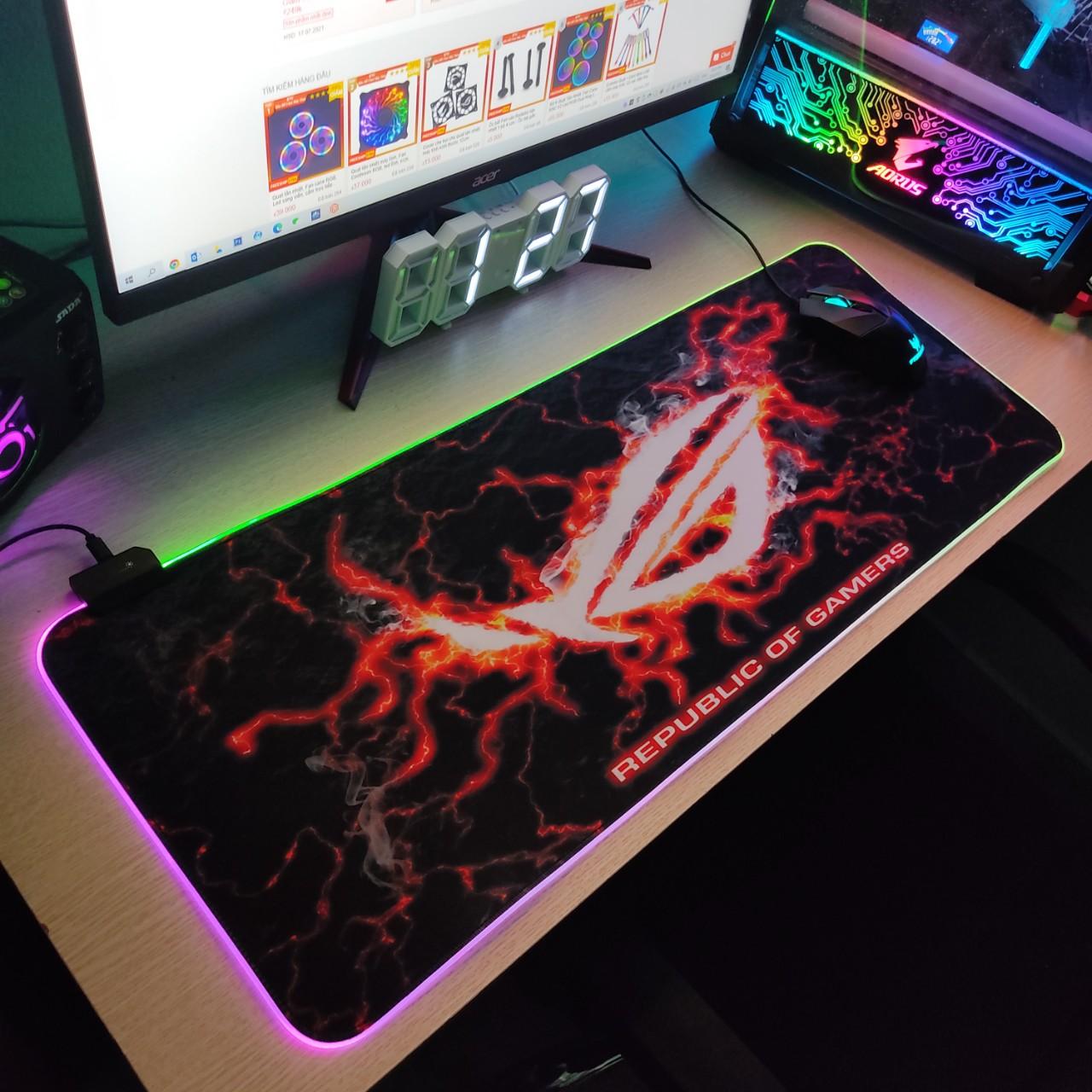 Mouse Pad, bàn di chuột, lót di chuột tích hợp Led RGB sáng viền,phiên bản ROG số 3 kích thước 80cm x 30cm dày 4mm - Hàng nhập khẩu