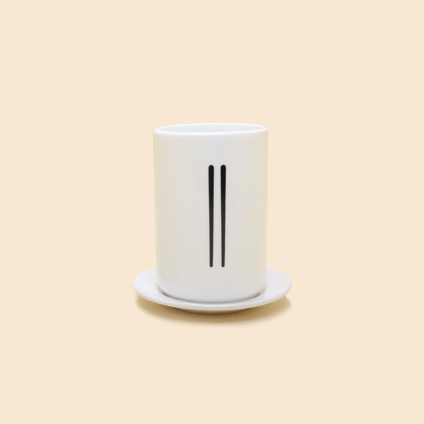 Ly Sứ trắng in hình Đũa Muồng Nĩa  - Set of White Ceramic Cup & Saucer S20