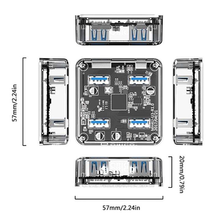 Bộ hub chia 4 cổng USB 3.0 trong suốt MH4U-U3