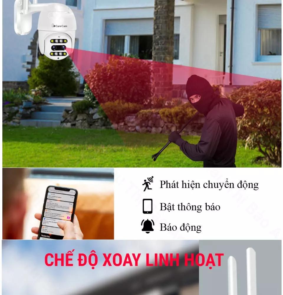 Camera wifi ngoài trời Carecam SM400-PL 4.0 Mpx Full HD- Zoom 10x – 8 LED- Camera mắt kép thông minh hình ảnh sắc nét - Đàm thoại ghi âm 2 chiều - Hồng ngoại xem đêm - Cảnh báo chuyển động chống trộm - Chống nước- Hàng nhập khẩu