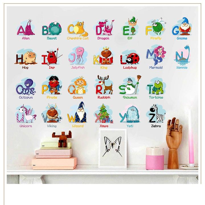 Giấy nhựa Decal trang trí dán tường chữ cái ABC cho bé