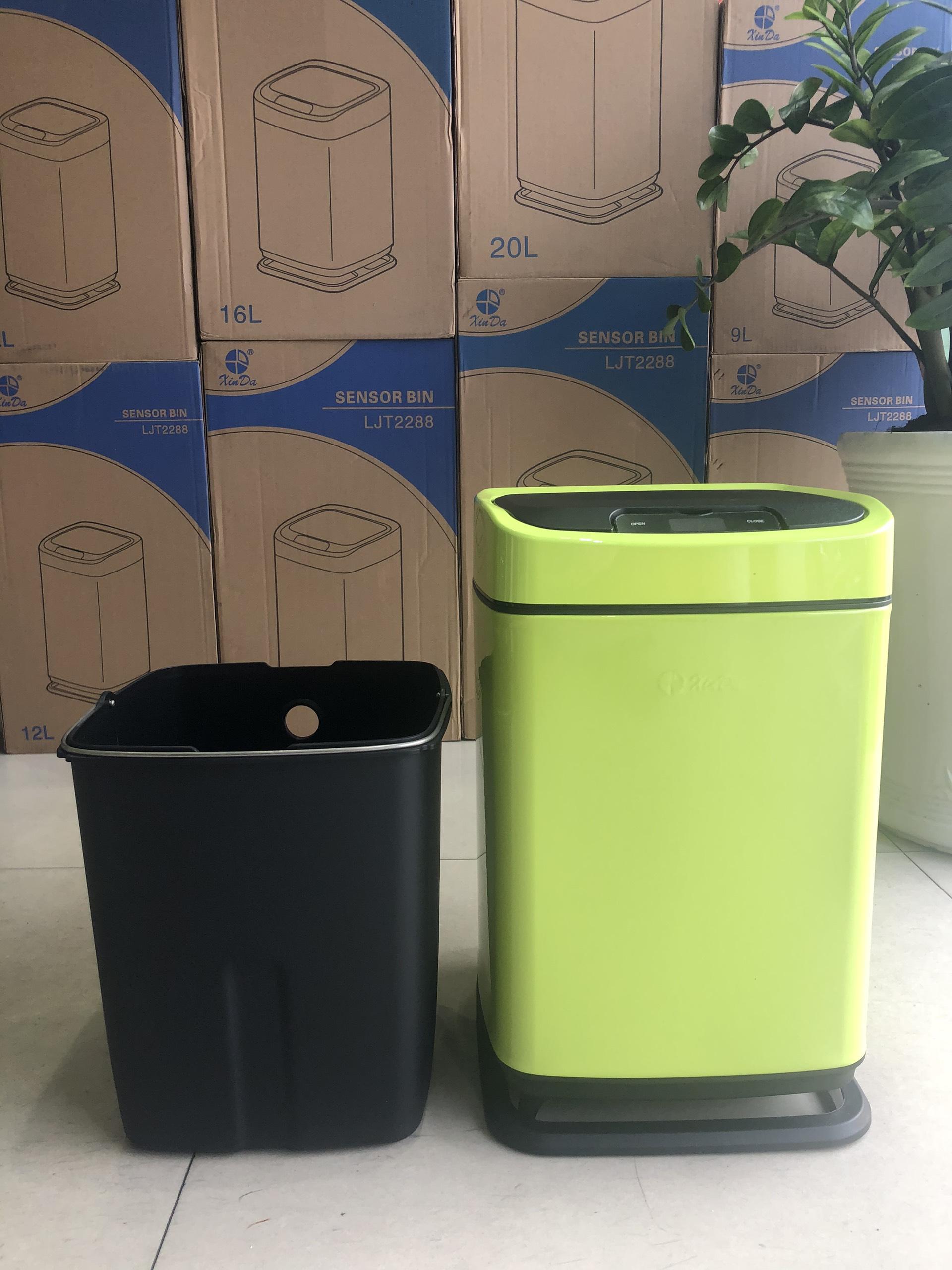 Thùng rác thông minh cảm ứng tự động 9 lít màu xanh - Hàng chính hãng