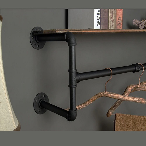 kệ ống nước Kệ treo gắn tường kiêm giá treo quần áo 20x80x25cm Chất liệu gỗ , ống sắt 3ly cứng cáp trang trí quán và shop