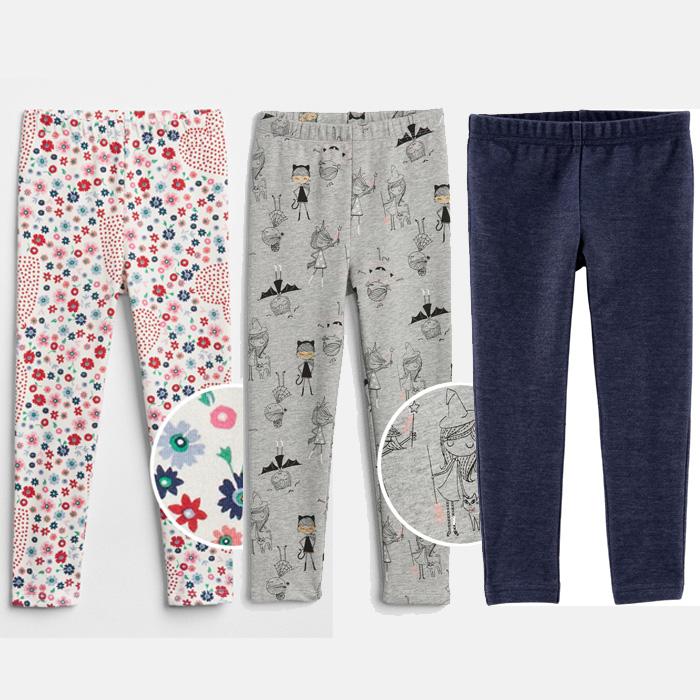 Quần legging bé trai-bé gái-set 3 quần-vải xuất đẹp nhiều màu
