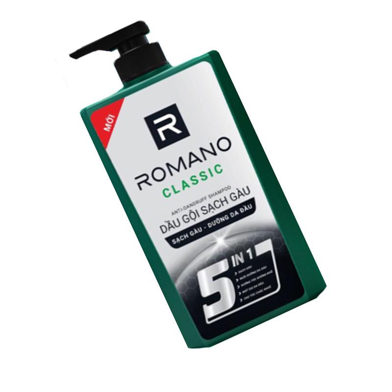 Dầu gội Sạch Gàu Romano Classic 650ml tặng kèm lăn khử mùi Classic 40ml