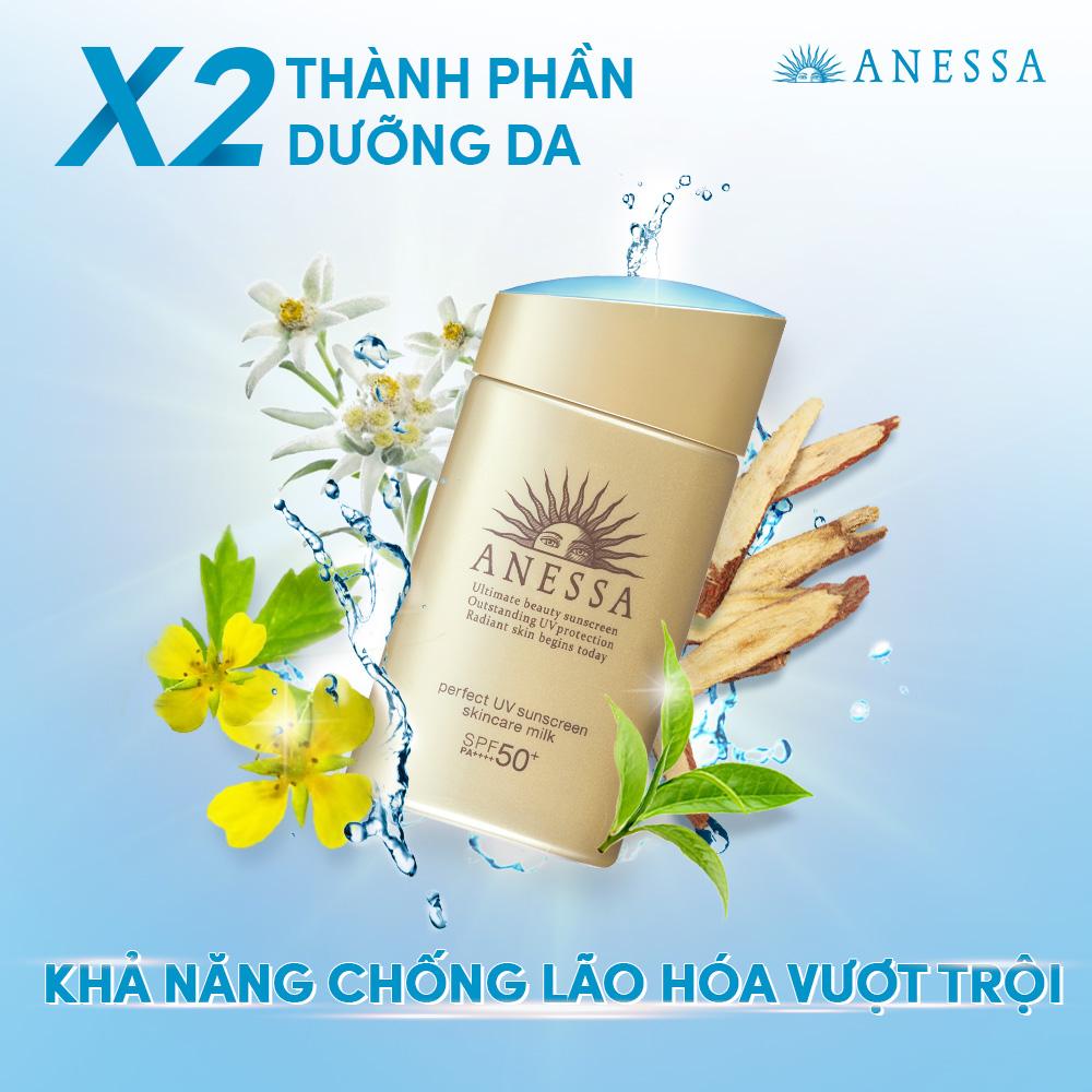 Hình ảnh Kem chống nắng dưỡng da dạng sữa bảo vệ hoàn hảo Anessa Perfect UV Sunscreen Skincare Milk SPF 50+ PA++++ 60ml