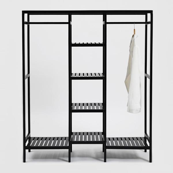 Tủ Giá Treo Quần Áo Gỗ Triple Hanger Nội Thất Kiểu Hàn BEYOURs - Đen