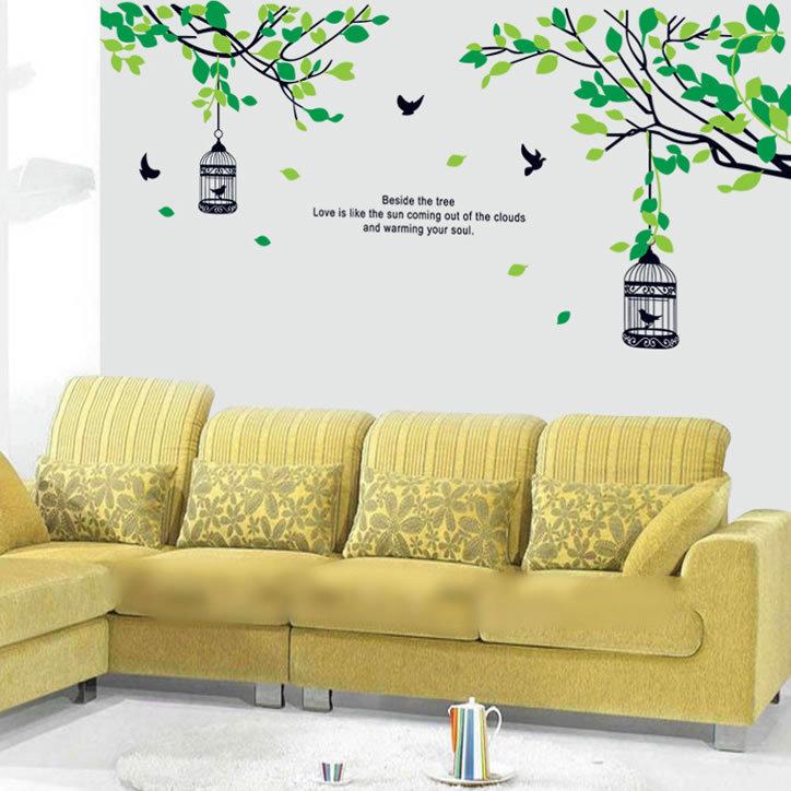 Decal dán tường cành cây và lồng chim AY9045 framedecals