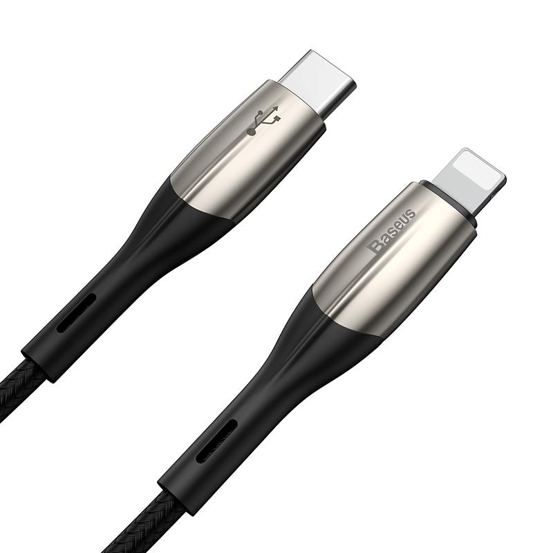 Cáp sạc Baseus Horizontal Data Cable Type-C to iP PD 18W Black CATLSP-01 - Hàng chính hãng