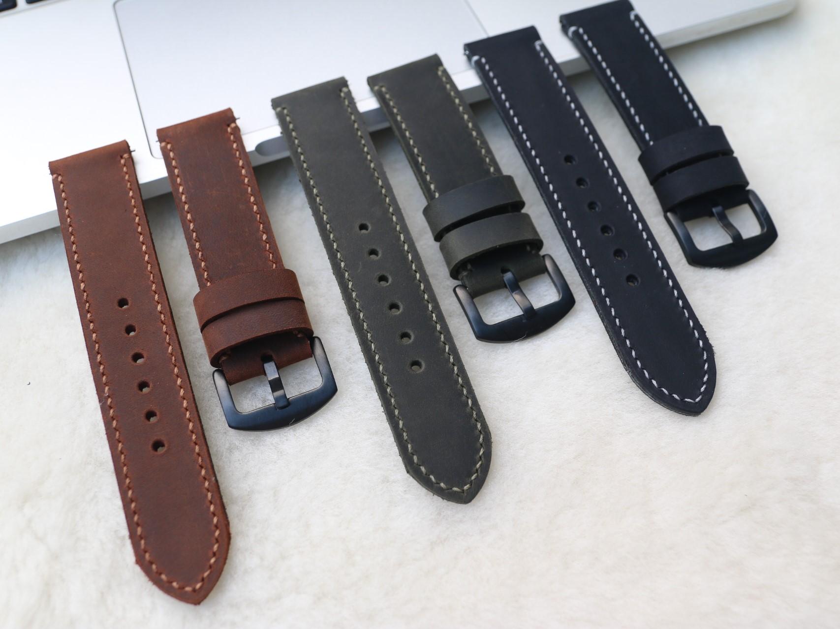 Dây Da Đồng Hồ Da Bò Sáp Vintage Handmade, Dây đeo bằng da cổ điển chốt thông minh thay thế dành cho SmartWatch, Lựa chọn màu sắc và chiều rộng 18mm/ 20mm / 22mm