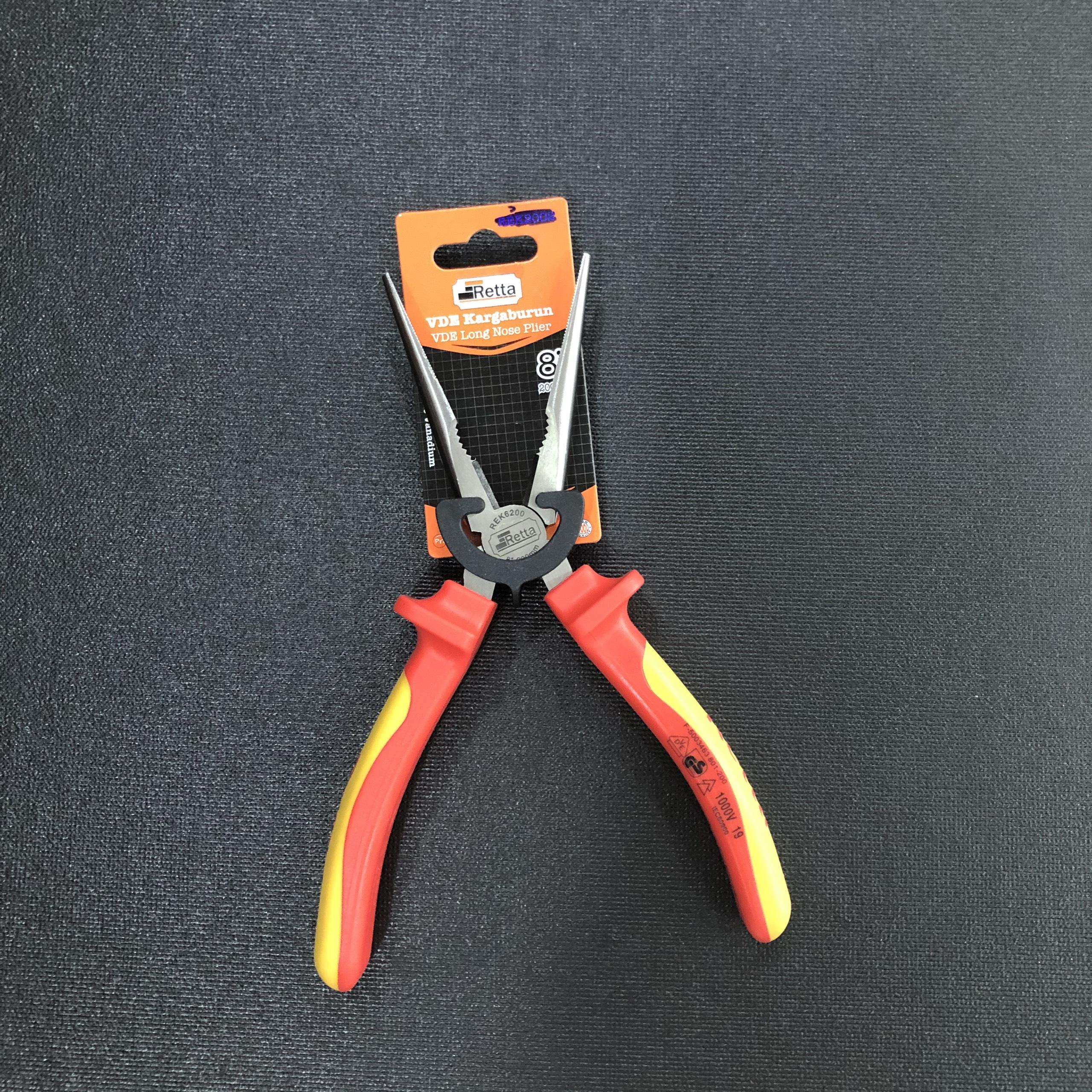 Kìm mũi nhọn cách điện 1000V Retta 200mm - REK6200