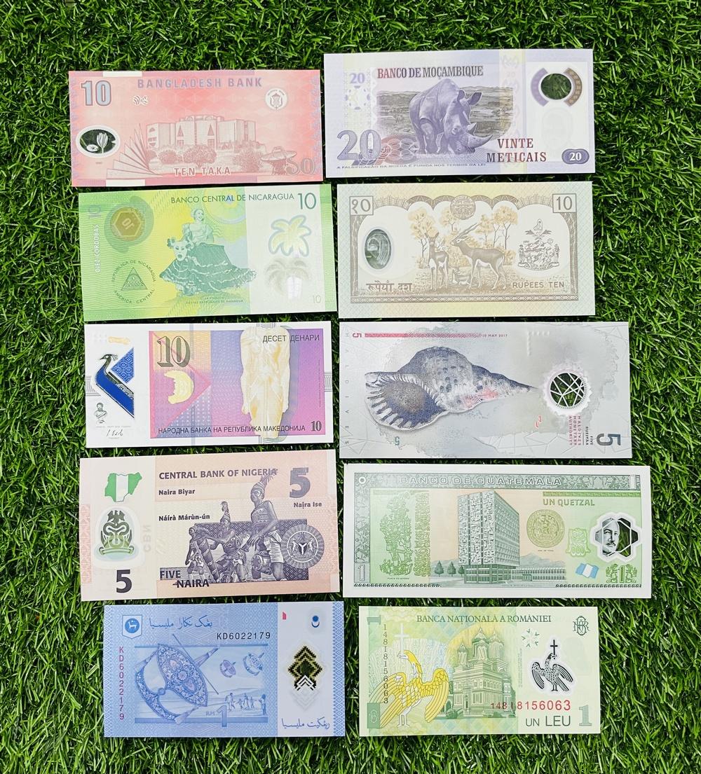 Combo 10 Tờ Tiền Polymer của 10 Quốc Gia khác nhau tuyệt đẹp, [SƯU TẦM TIỀN XƯA THẾ GIỚI] mới 100% UNC tặng kèm túi nilon bảo quản