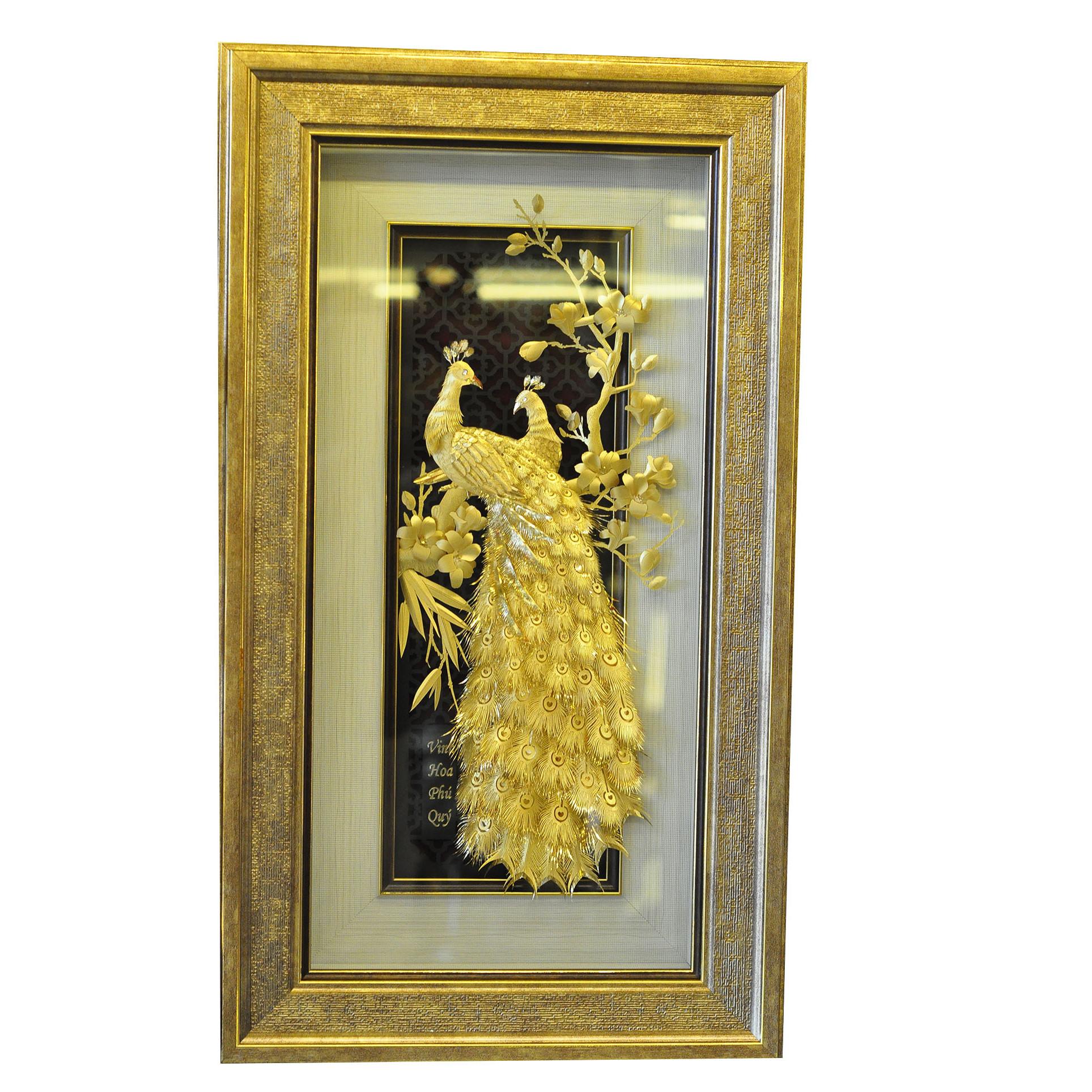 Tranh vinh hoa phú quý dát vàng lá 24k