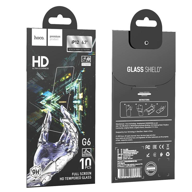 Kính cường lực Hoco độ cứng 9H độ nhạy cảm ứng cao , hạn chế bám vân tay cho iPhone 12 Pro Max - Hàng chính hãng