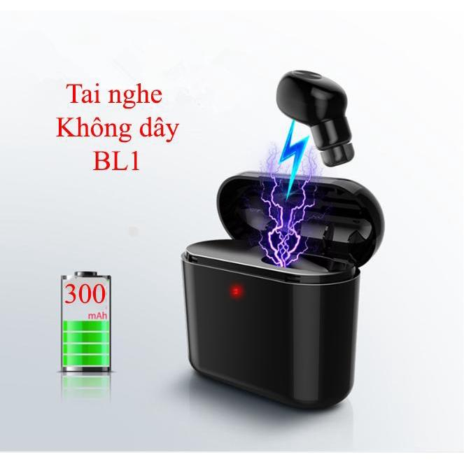 Tai nghe Bluetooth mini thời trang SMH-BL1 có mic đàm thoại + Tặng Dock sạc 300mah (Màu đen) Tai nghe Blu