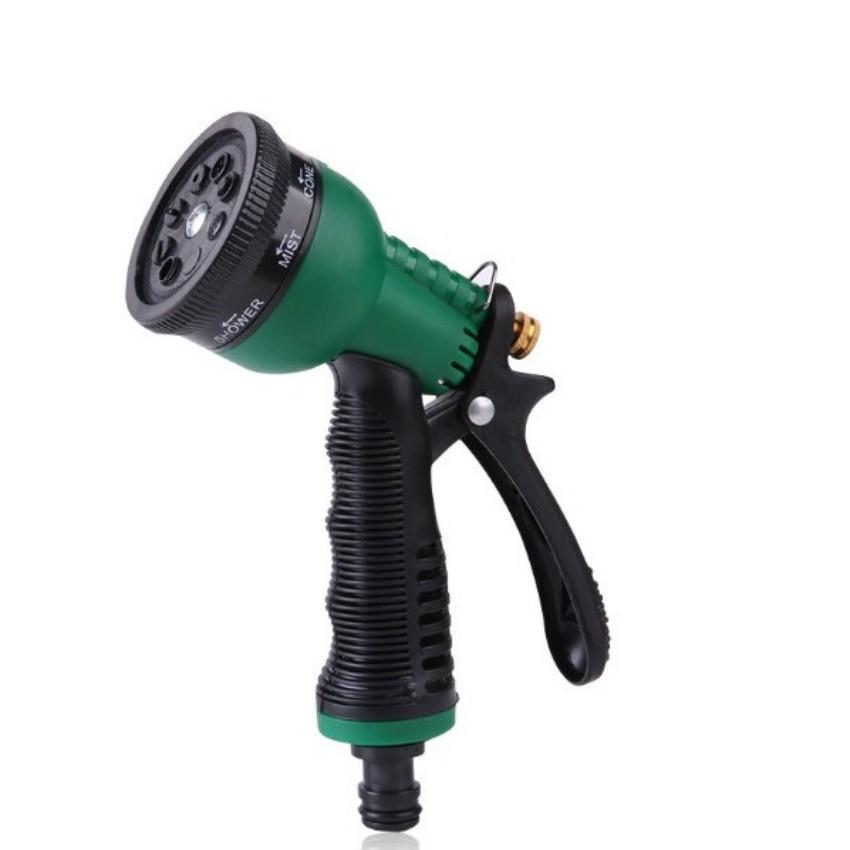 Vòi xịt rửa xe,Vòi phun nước tưới cây tăng áp thông minh 8 chế độ 815576-1 (cút vàng,nối xanh - dây xám)