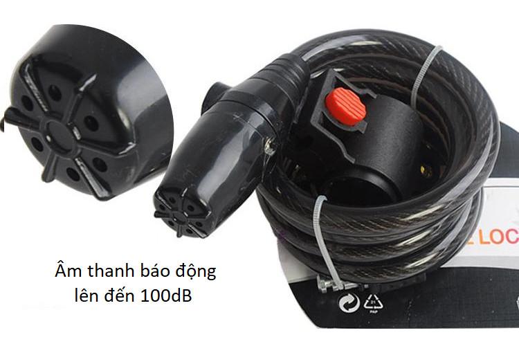 Khóa dây báo động 100dB chống trộm 120cm ( Tặng kèm 01 móc khóa tô vít ba chức năng )