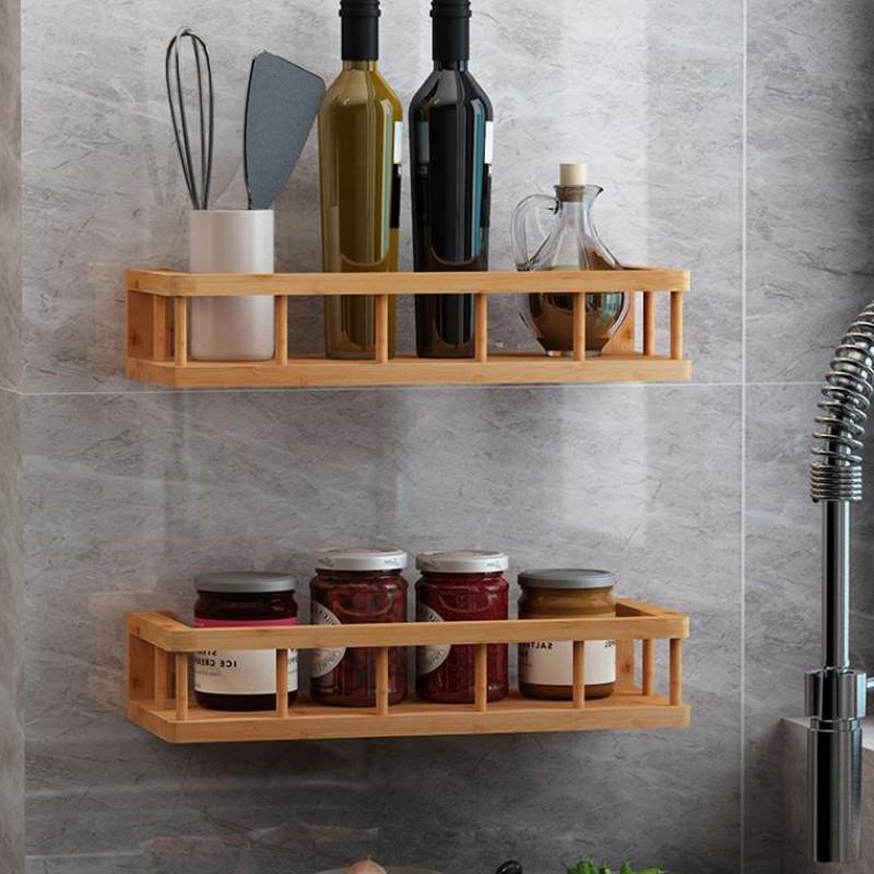 Giá kệ gỗ tre đa năng treo tường nhà bếp hay phòng tắm phòng khách đều được,bằng gỗ tre,Kích thước 37 x 15 x 8 cm,màu vàng Tre nguyên bản,Chống mối mọt cong vênh - Giá kệ gỗ tre treo tường