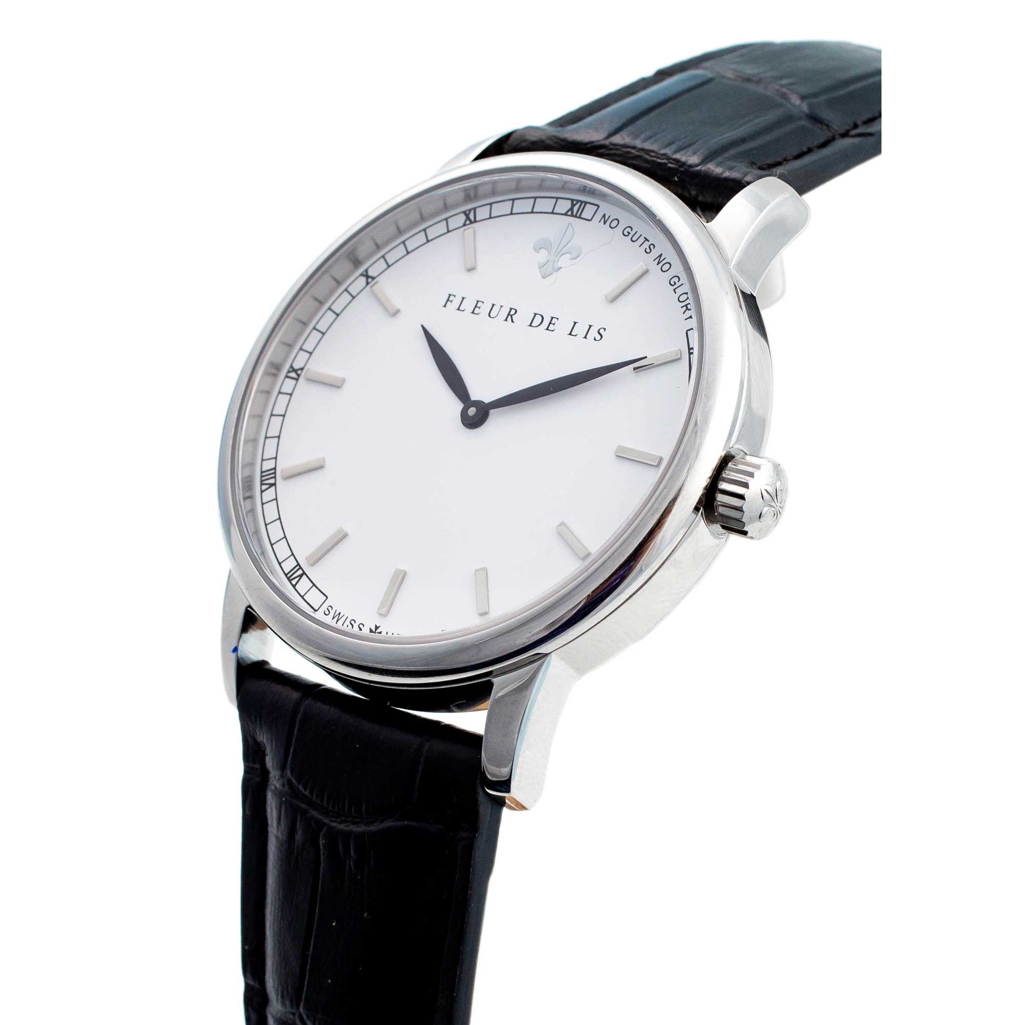 Đồng hồ nam Fleur De Lis ACE-03 hàng chính hãng chống nước mặt shaphire 41mm dây da cao cấp