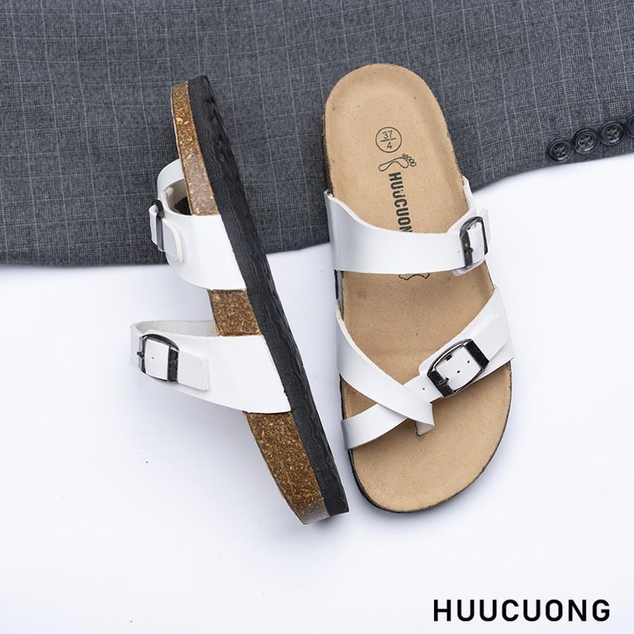 Dép HuuCuong -xỏ ngón trắng đế trấu