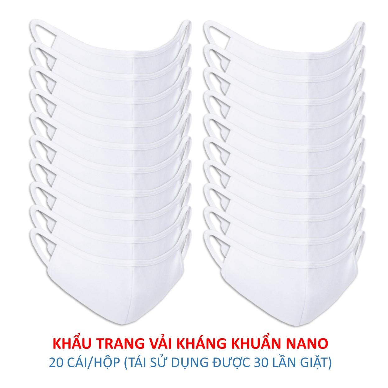 Hộp 20 Khẩu Trang Vải Kháng Khuẩn Nano Anntex
