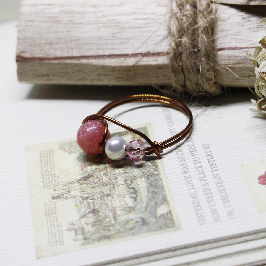 Nhẫn đá phong thuỷ đồng nguyên chất N3-3 - Hồng - Rose Quartz