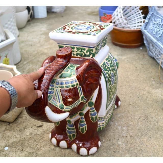 Tượng Voi Mỹ Nghệ bằng gốm tráng men