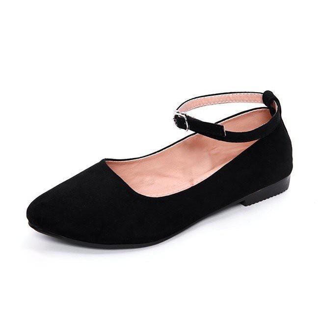 Giày Búp Bê Nữ Có Quai Màu Đen