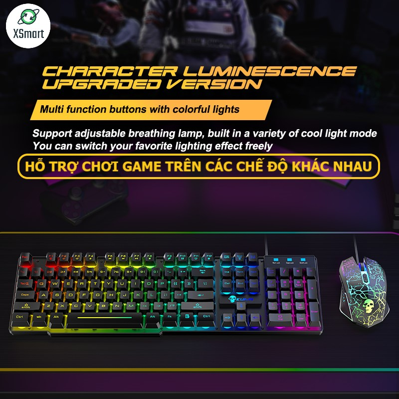 Bộ Bàn Phím Và Chuột Chơi Game Có 10 Chế Độ Led Khác Nhau XSmart T6RGB Super PRO 2021 Tương Thích Máy Tính PC Laptop - Hàng Chính Hãng