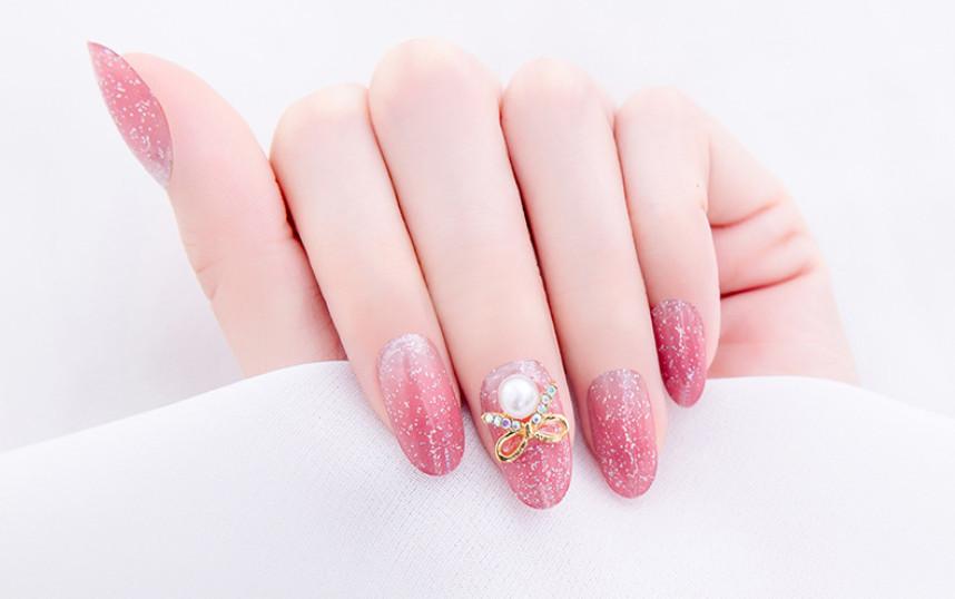 Móng tay giả nail thời trang đính đá - Bộ 24 móng