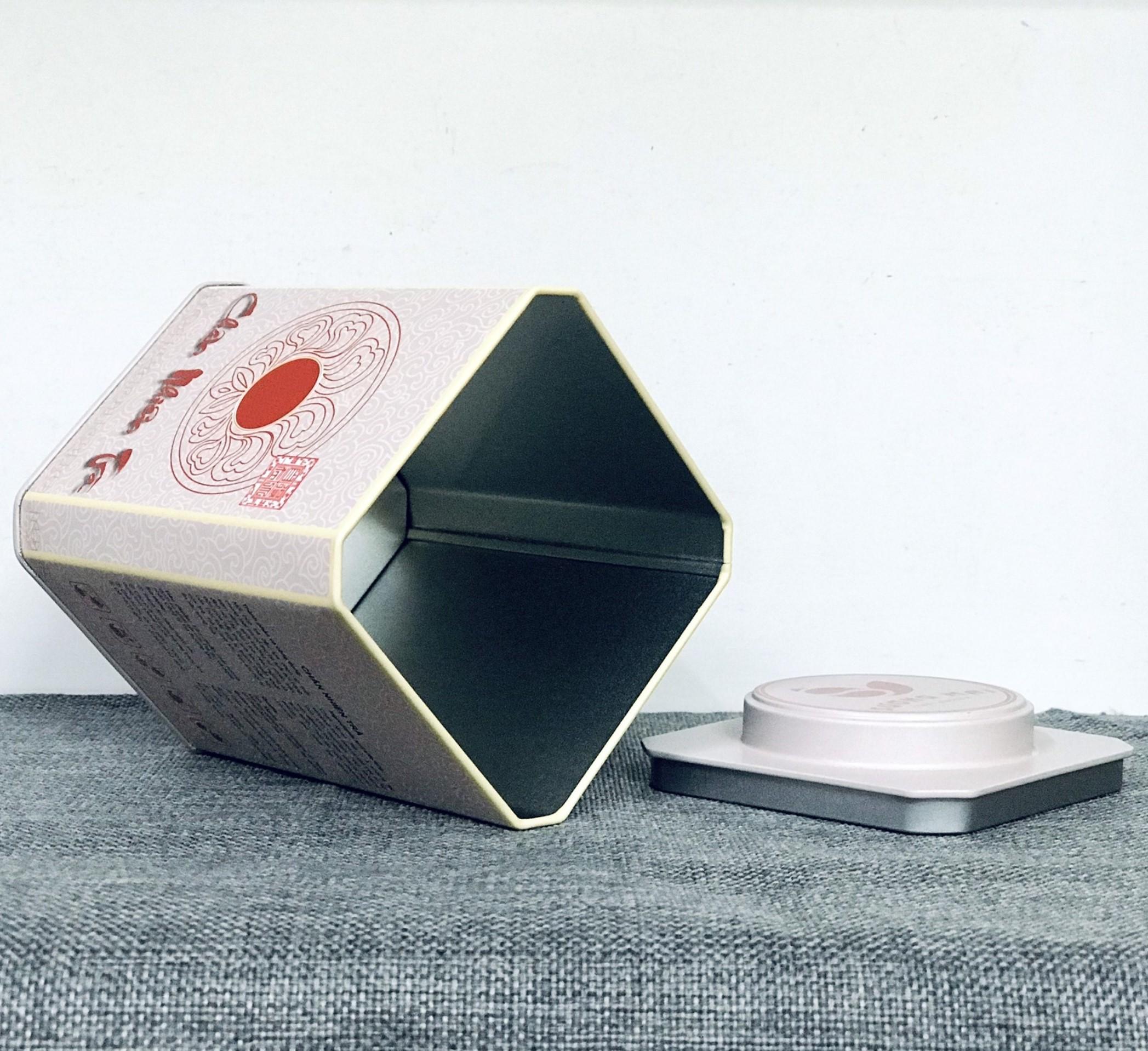 Hộp vuông đựng trà bằng thép màu trắng