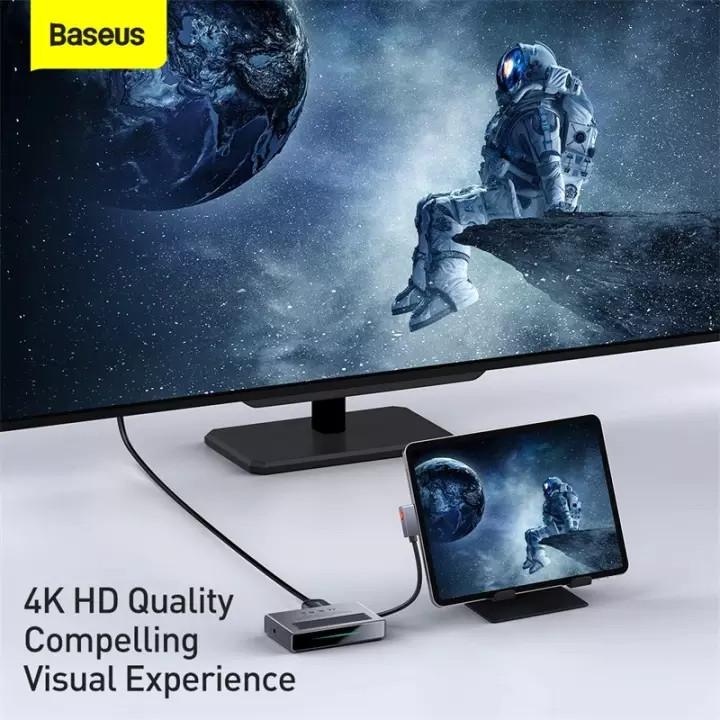 (Tặng kèm túi đựng USB tai nghe TOPK) Hub chuyển đổi Baseus 6 trong 1, hỗ trợ thẻ TF, SD, sạc nhanh PD 100W, hình ảnh 4K sắc nét,... sử dụng cho điện thoại, máy tính bảng, laptop,... Hàng chính hãng
