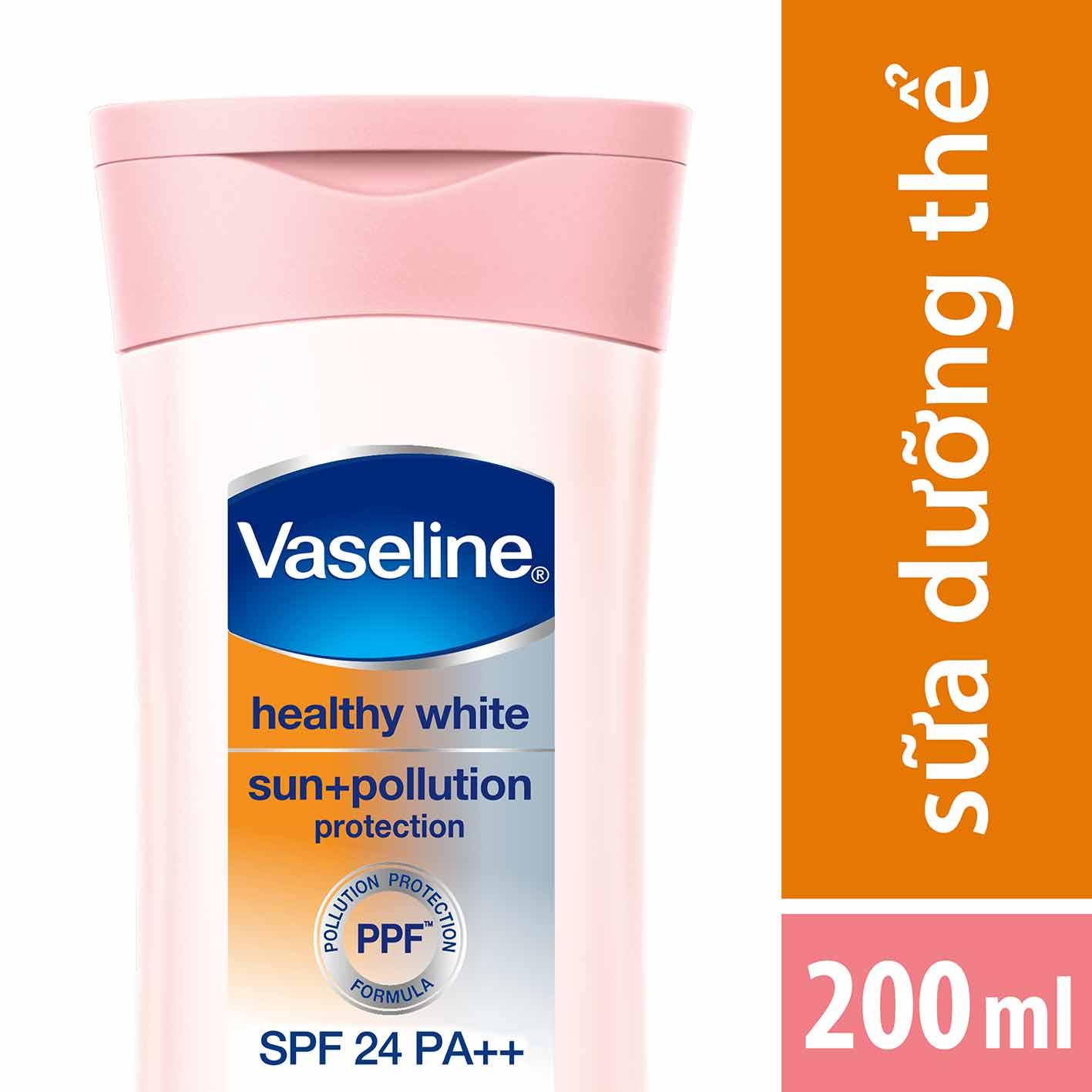 Sữa Dưỡng Thể Trắng Da Chống Nắng Và Ô Nhiễm Môi Trường Vaseline SPF 24 PA ++ (200ml)