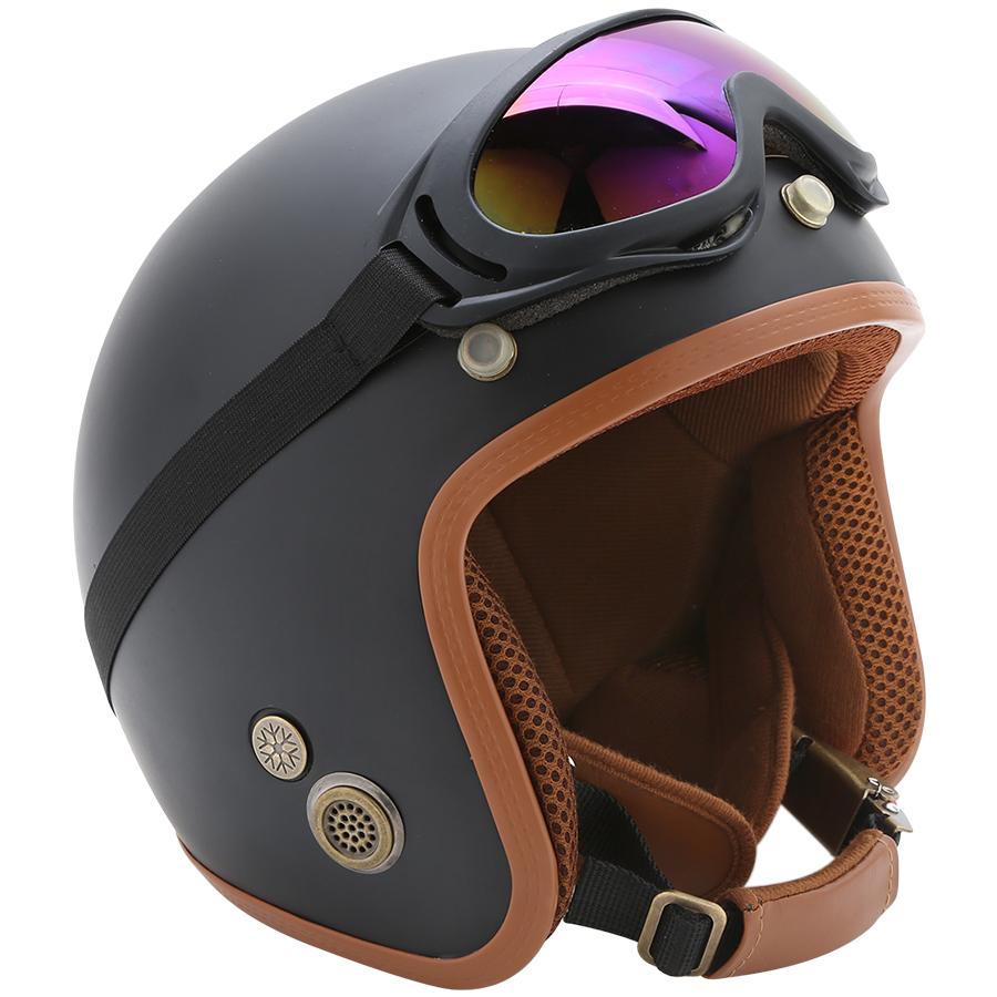 Combo Mũ Bảo Hiểm 3/4 Đầu Napoli SH Kèm Kính UV400 - Nón Bảo Hiểm Phượt Napoli Mẫu Mới 2020