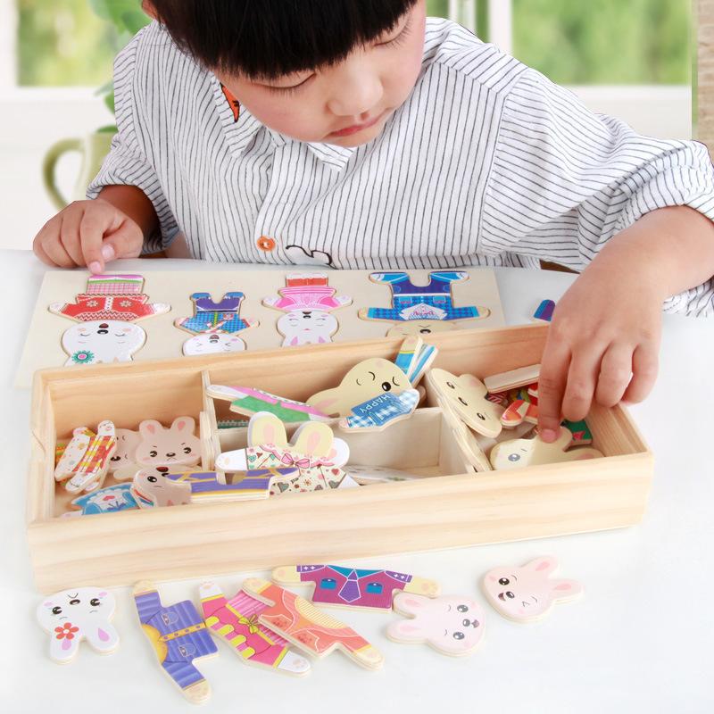 Đồ chơi gỗ - ghép hình gia đình thỏ đáng yêu cho bé